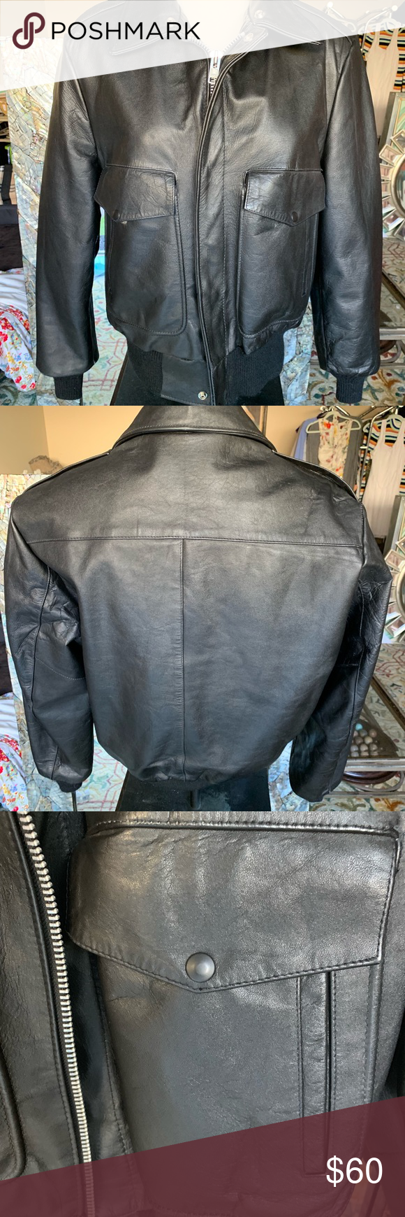 Oak Ton Bomber Jacket Heavy Duty Leather Jacket Quilted Lining Excellent Shape Does Not Have The Fur On Collar Oakton Leather Jacket Jackets Bomber Jacket [ 1740 x 580 Pixel ]