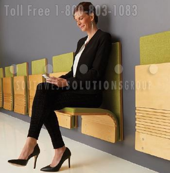 Compact Folding Wall Mounted Chairs For Seating In Public Spaces Wall Seating Indoor Seating Folding Walls