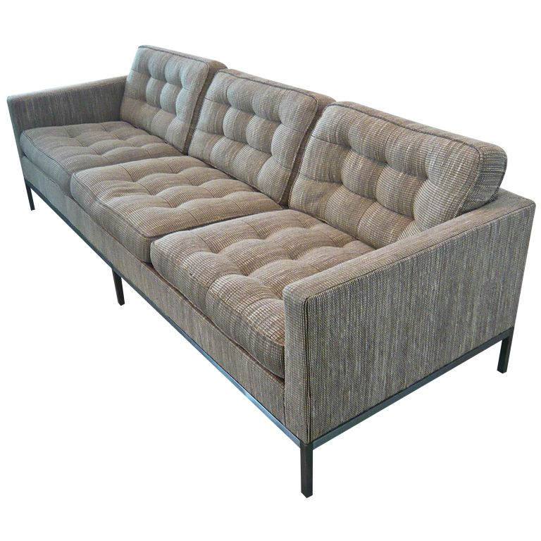Florence Knoll Sofa Usa 1950 S 3 Seater With Tufted Cushions In Knoll Cato Fabric On Stainless Steel Base Retains Labels