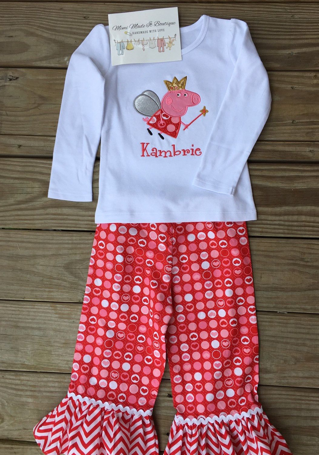 A personal favorite from my Etsy shop https://www.etsy.com/listing/262658200/peppa-personalized-outfits-for