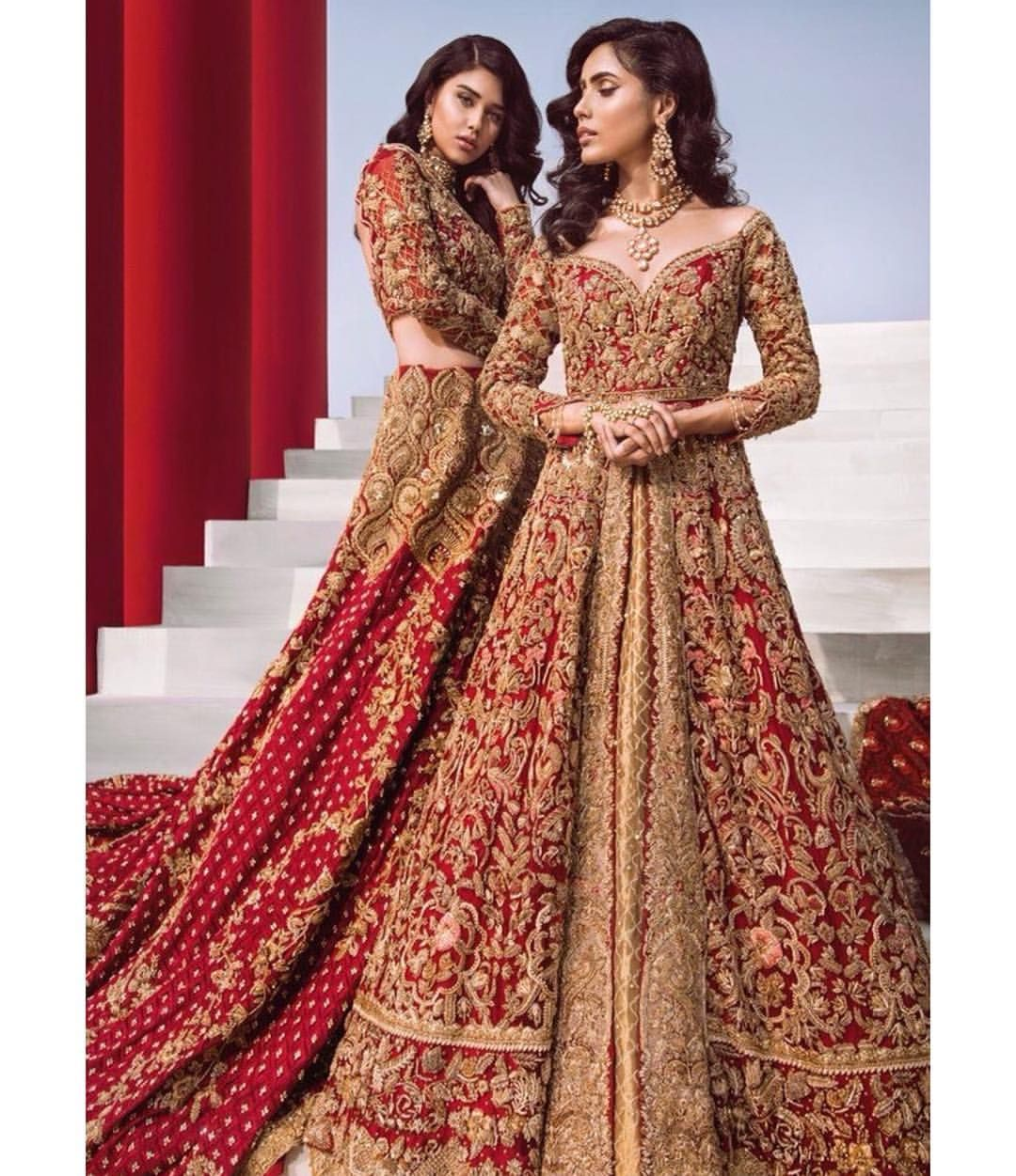 Royal Red And Gold Combination Red Bridal Dress