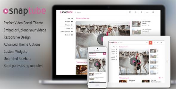 Snaptube - Premium Video WordPress Theme | Wordpress, Wordpress ...