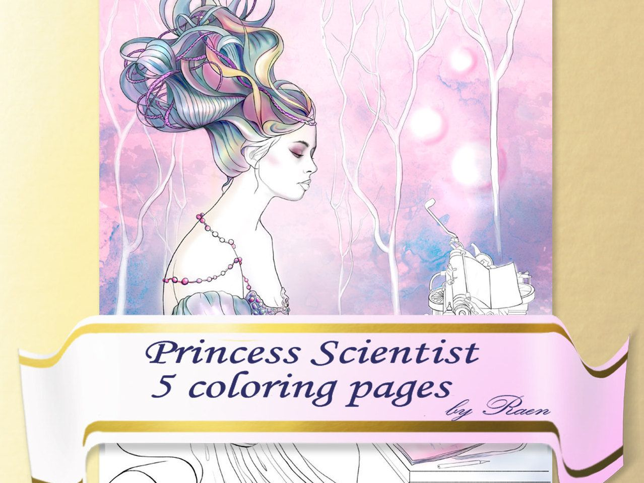 Princess Scientists Coloring Book for Adults, Coloring Pages ...