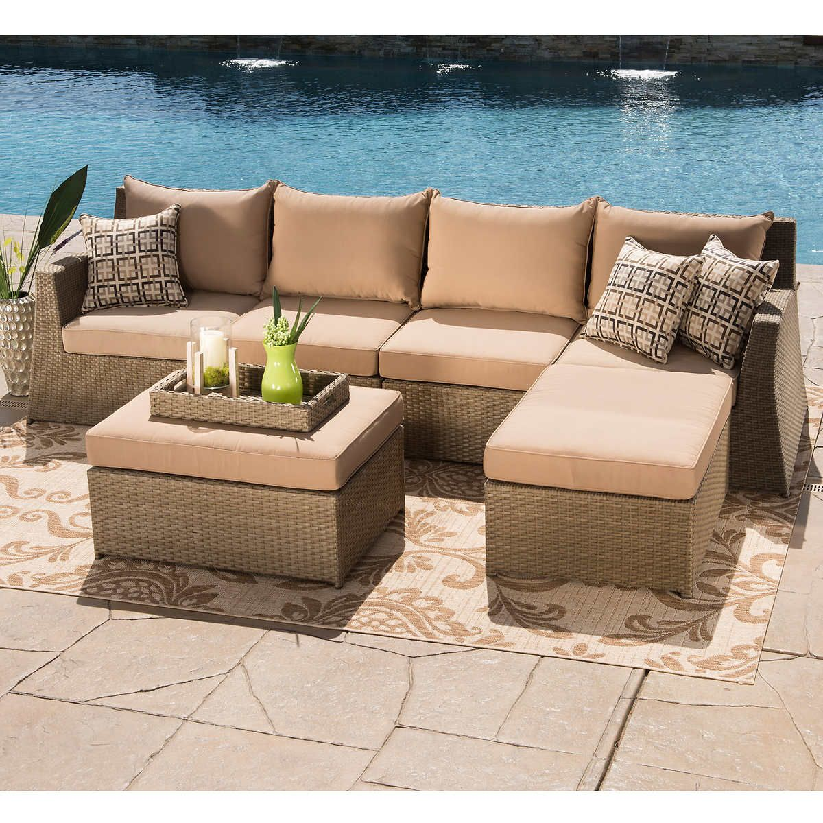 Hampton 6 Piece Seating Sectional By Sirio Buy Outdoor Furniture Patio Seating Sets Deep Seating