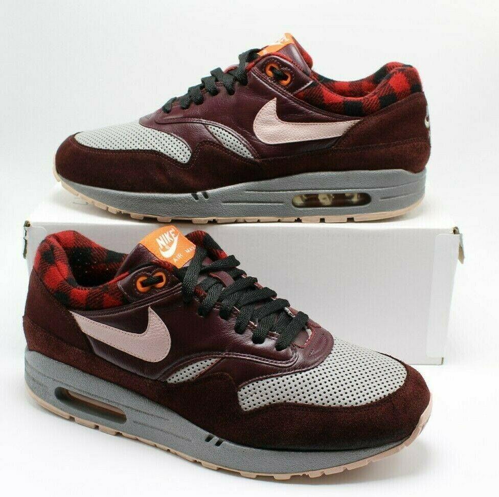 RARE Nike Air Max 1 PRM Burgundy Flannel 309717 061 sz 10