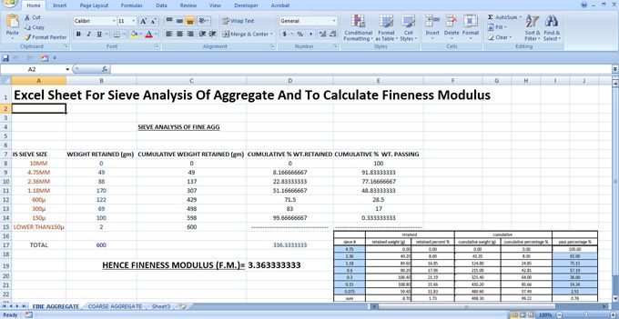 Download Excel Sheet For Sieve Analysis Of Aggregate and
