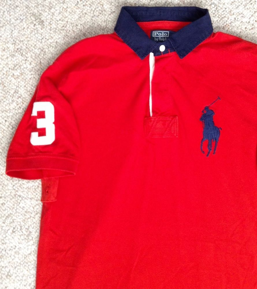 8a98ac14b8 Mens(Med) POLO RALPH LAUREN PIQUE T-SHIRT Red&Navy-Blue Big-Pony White#3  Golf #PoloRalphLauren #PoloRugby