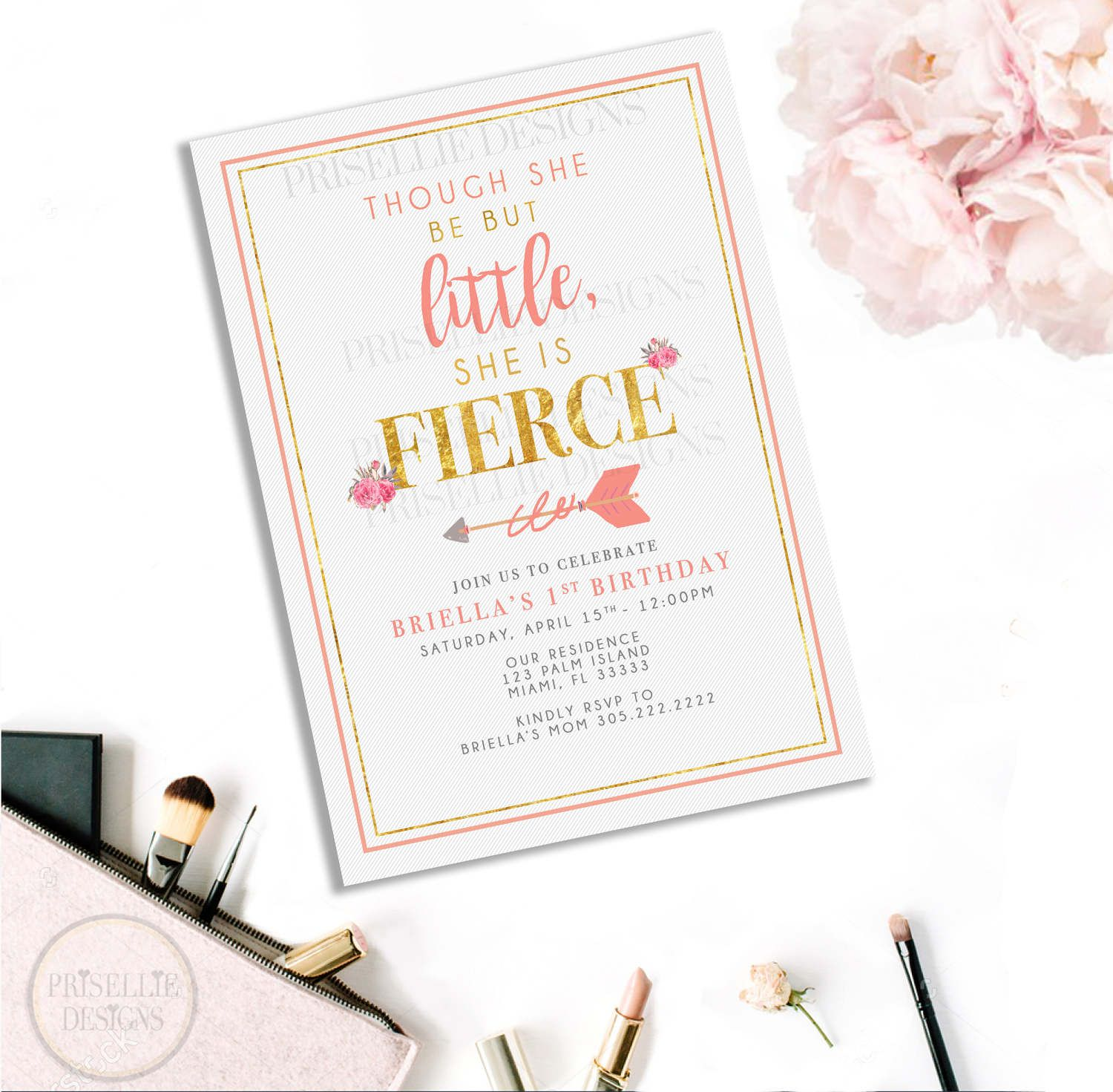 Floral Fierce Girl Birthday Invitation, Floral 1st Birthday ...