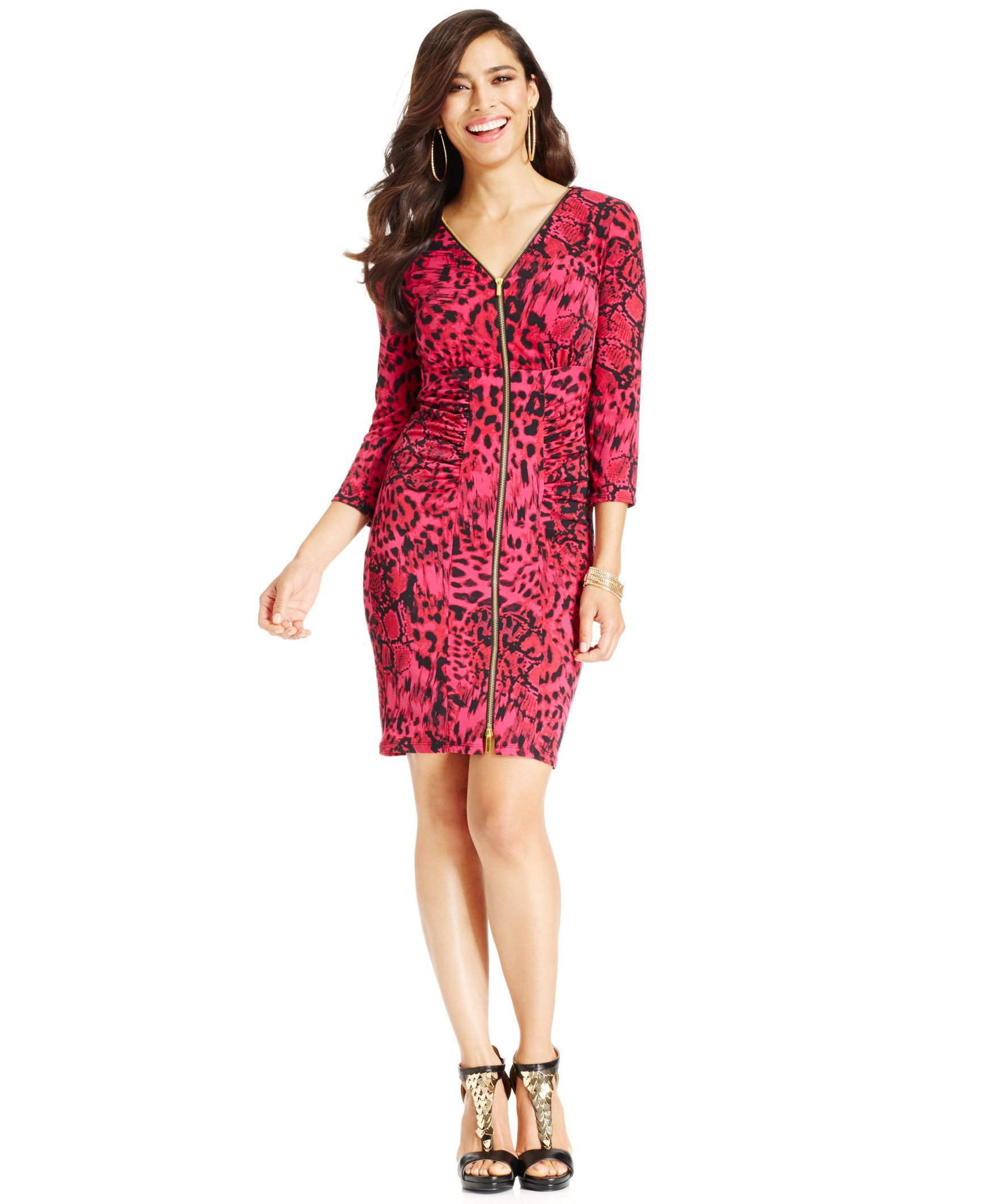 Thalia Sodi Cowl-Neck Animal-Print Sheath Dress, Only at Macy's ...