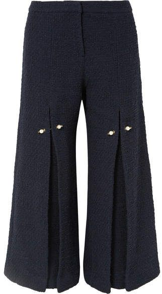 Bennie Faux Pearl-embellished Pleated Cotton-tweed Wide-leg Pants - Navy Mother Of Pearl TI1wFGvY