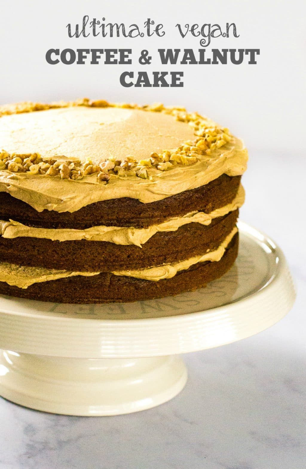 This Decadent Triple Layer Vegan Coffee Walnut Cake Is Easy To Make And A Real Showstopper Lig Vegan Coffee Cakes Coffee And Walnut Cake Vegan Cake Recipes
