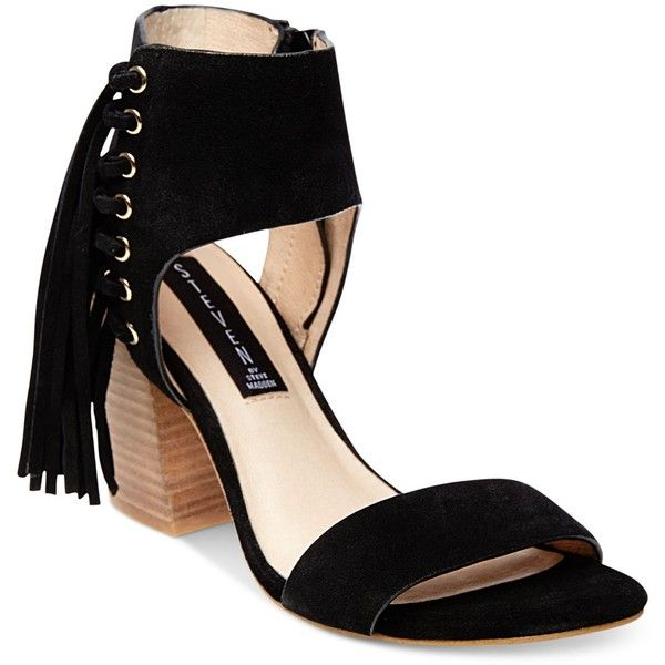 Steven by Steve Madden Women's Luisa Fringe Sandals ($129) ❤ liked on Polyvore featuring shoes, sandals, black suede, fringe sandals, ankle wrap sandals, suede sandals, ankle tie sandals and black ankle strap sandals