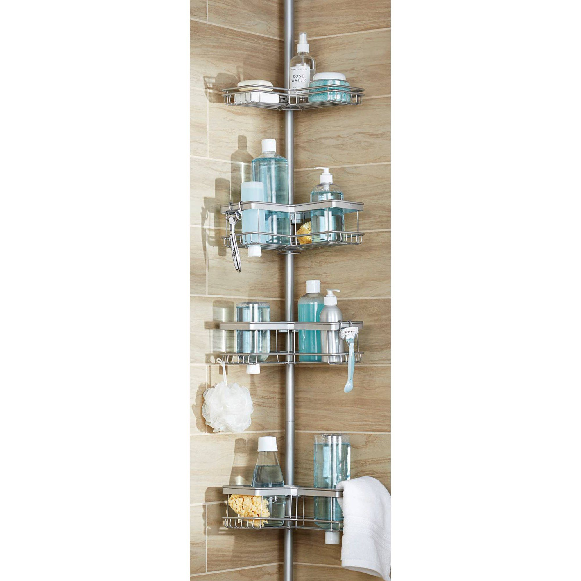 4 Tier Rust Resistant Contoured Tension Pole Shower Caddy 60 In To 108 In Satin Nickel Walmart Com In 2021 Shower Caddy Corner Shower Caddy Bathroom Shower Organization