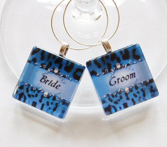 Bride & Groom Wine Charms. $7.50, via Etsy.