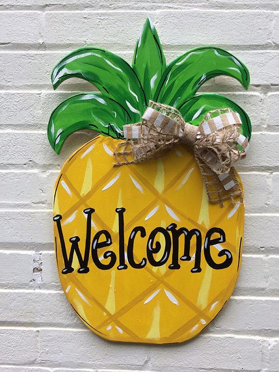 Photo of Pineapple Personalized Wooden Door Hanger Hand Painted