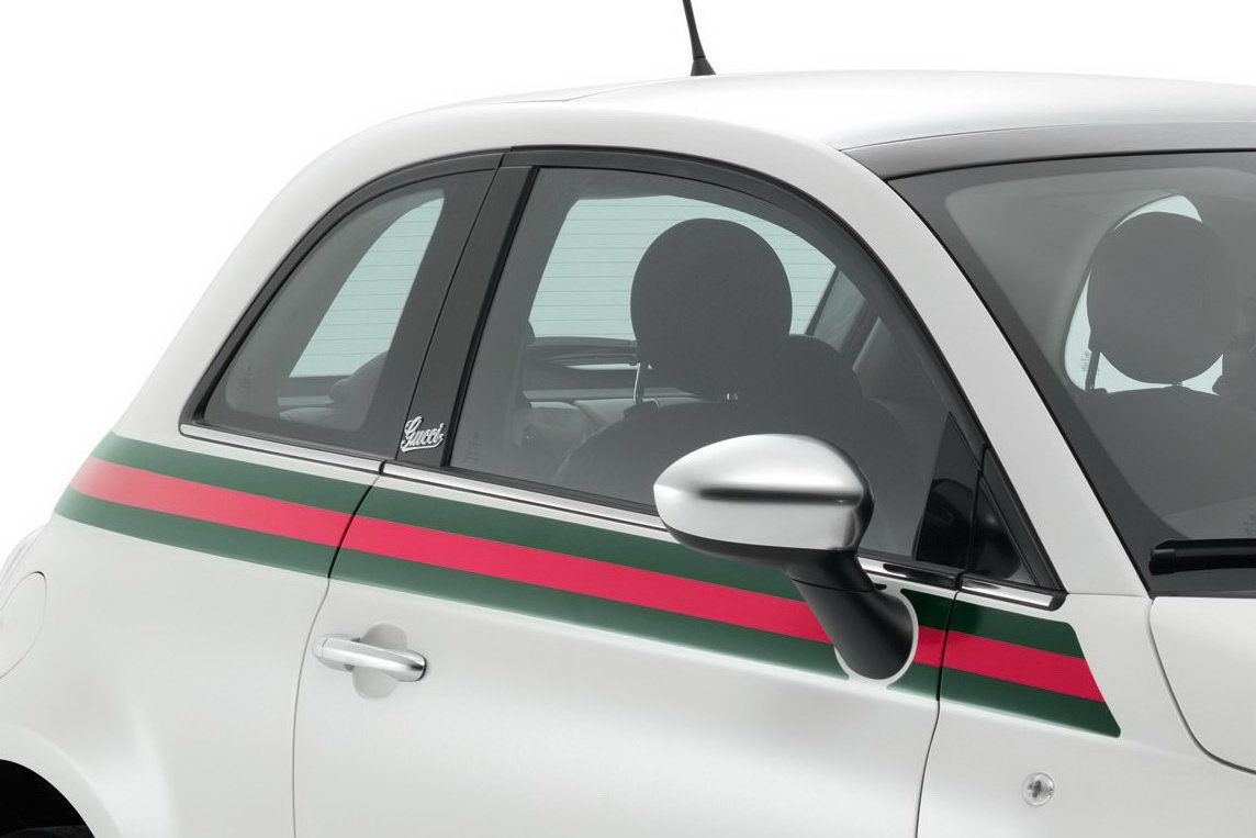 New Limited Fiat 500 Fashion Edition By Gucci Fiat 500 Gucci Green Red Green Stripe On Body Fiat 500 Fiat 500 Gucci Fiat