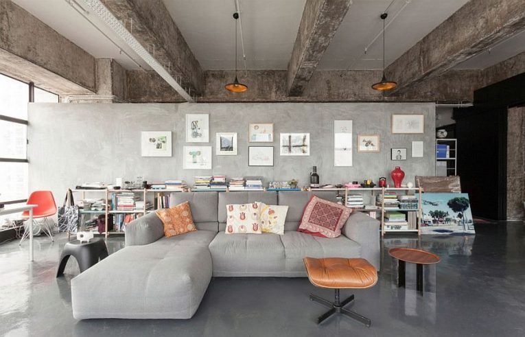 Hong kong industrial loft with raw concrete elements