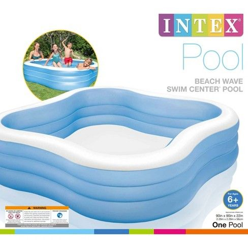 Intex 7.5ft x 7.5ft x 22in Swim Center Inflatable Above ...