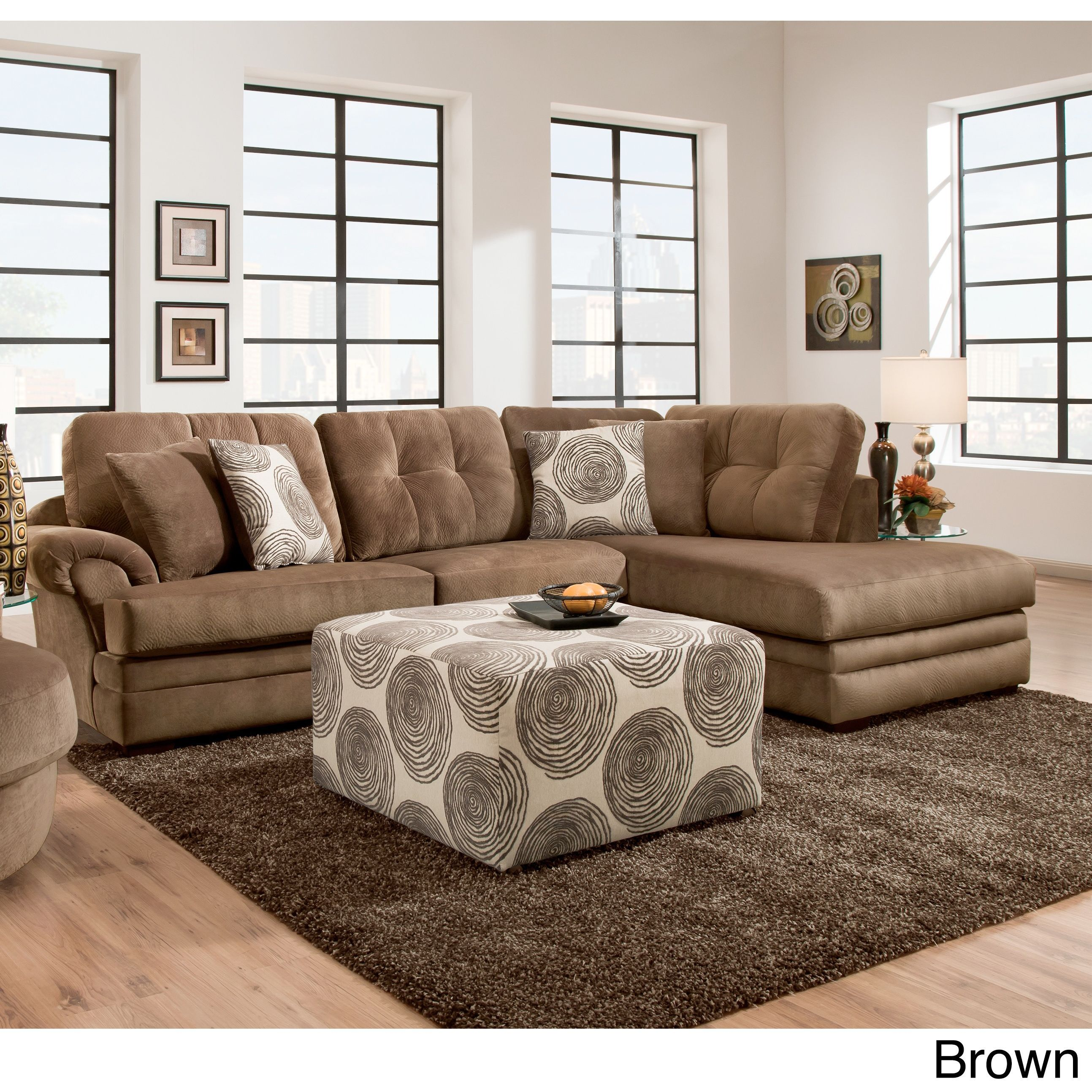 Sofa Trendz Plush Grey and Brown Velvet Sectional Lila Sectional