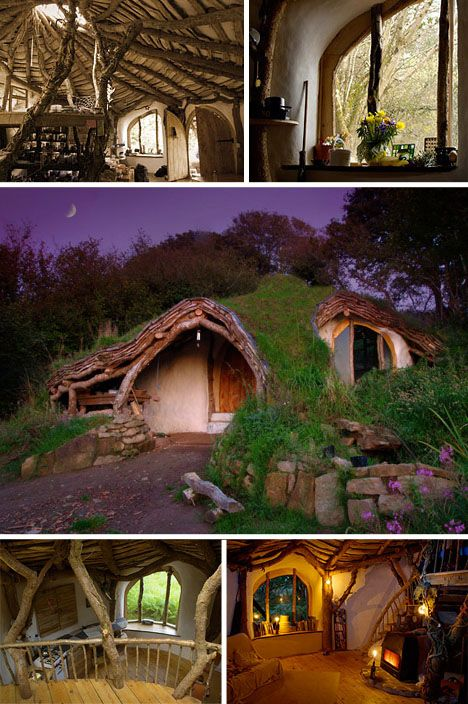 this home was built in Wales from stone, mud and remnant wood from nearby forests, resulting in a cost of just 10 bucks per square foot. Natural light streams in from a skylight at the top of the earthen, grass-covered dome. The use of materials from the construction site and the way the home was designed give it that truly unique, eco-friendly character that can only be found in earthen homes.