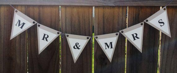 Mr. & Mrs. Banner, Black, white and beigh. Wedding decor.  Rustic wedding banner!!