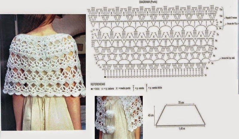 5 Modelos de Chales con sus patrones | Patrones de tejido | Chales o ...