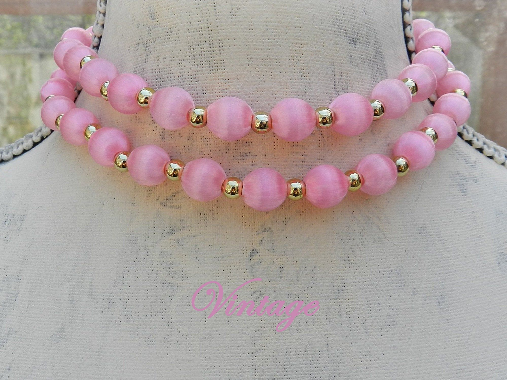 Pinks Vintage Beaded Necklace