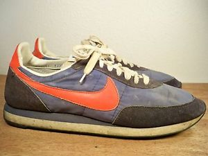 6ad72bd15f8 Image is loading Vintage-70s-Nike-WAFFLE-Trainers-Leather-Blue-Running-