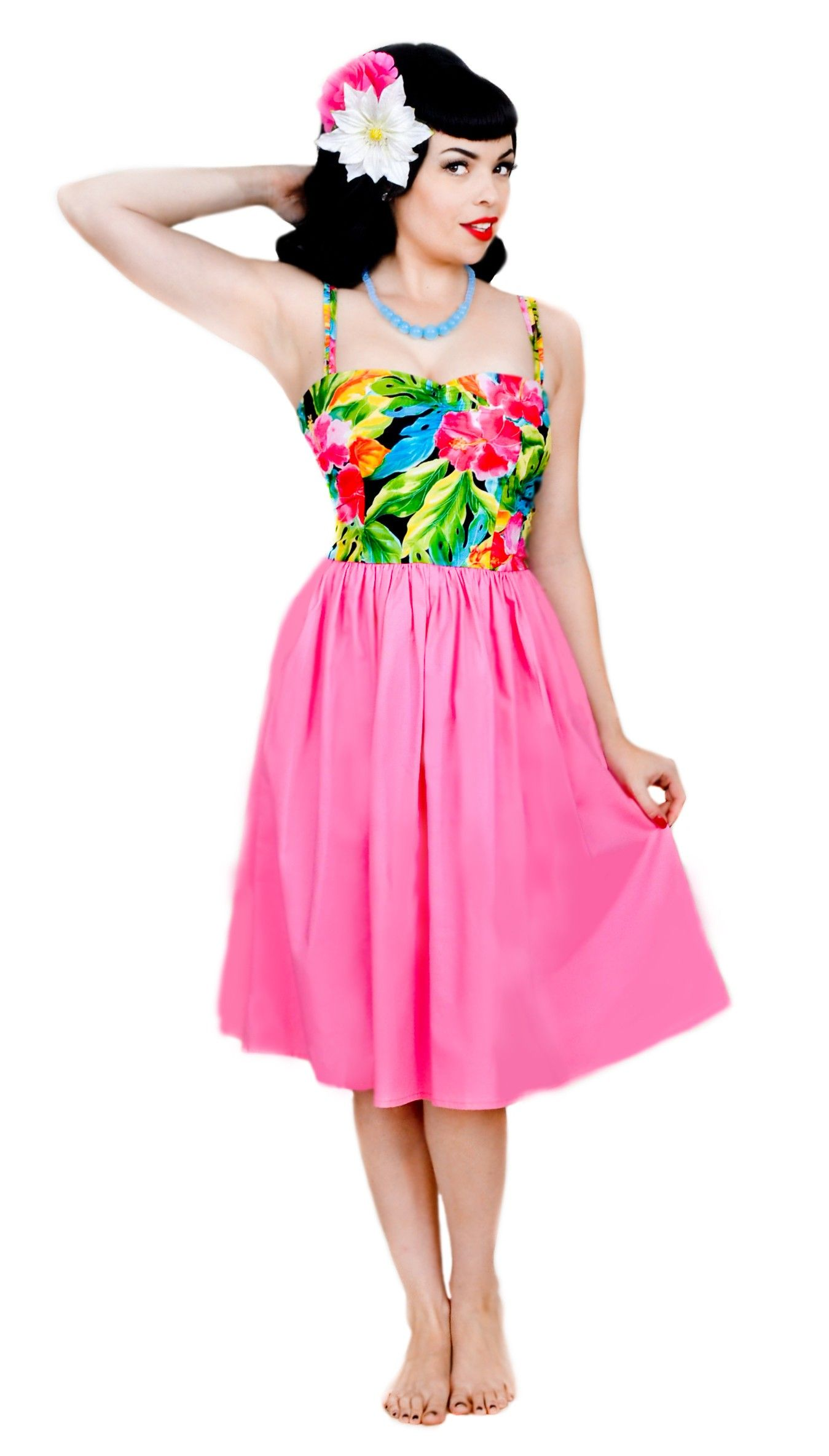 Pretty pinup style tropical dress in pink. #pinup #hawaii #style ...