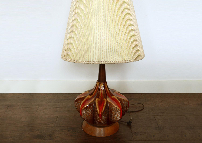 Massive Maurice Chalvignac Table Lamp, Fat Lava Glaze, Eames Era with  Original Twine encased shade | Twine, Lava and Teak furniture