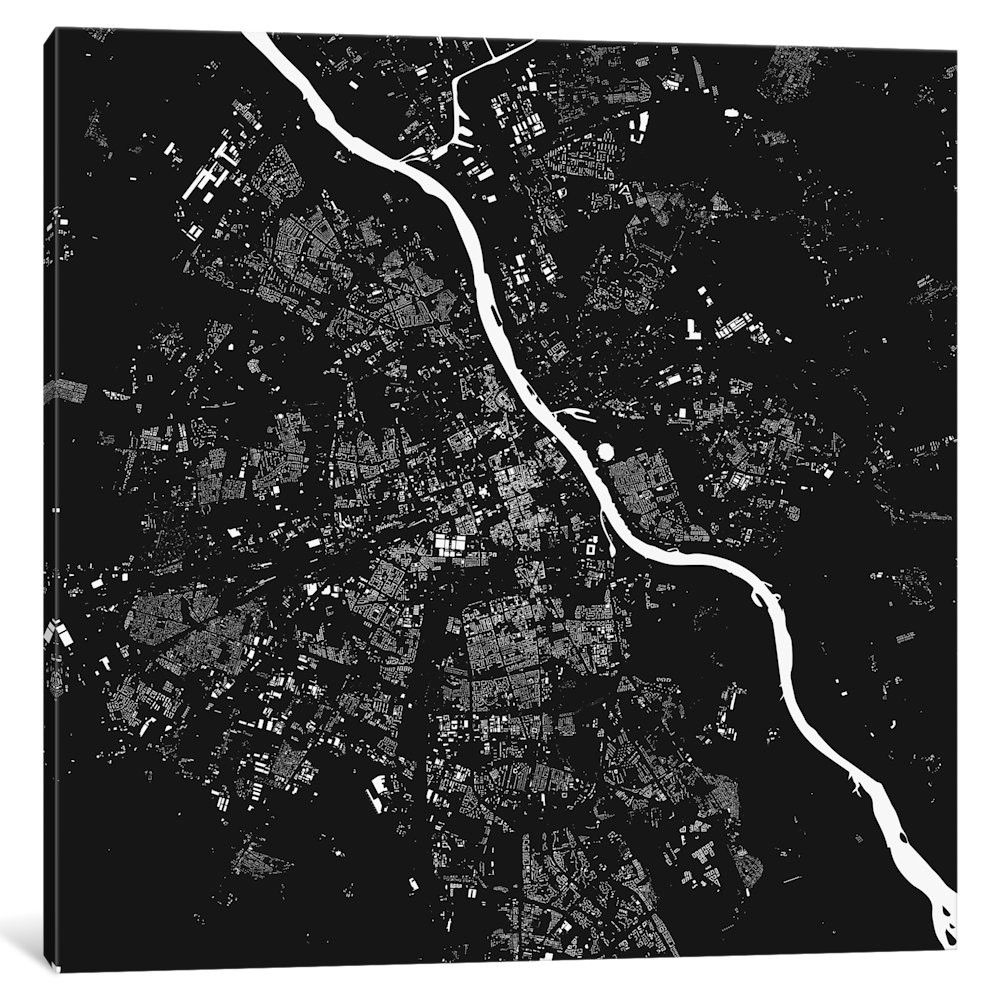 Warsaw Graphic Art on Wrapped Canvas