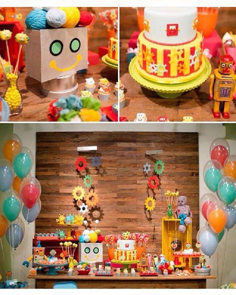 Bella Decoracion De Robot Fiestas De Cumpleanos Tematicas