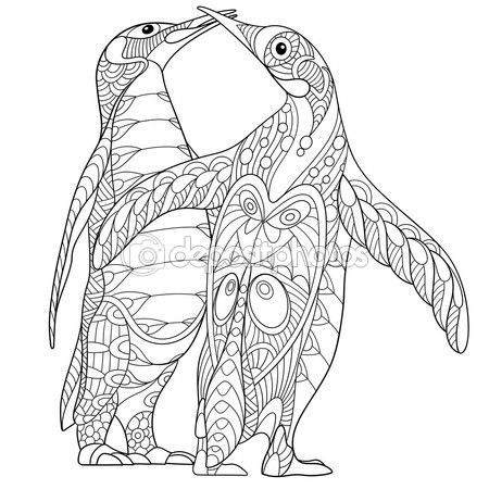 Zentangle Stylized Two Emperor Penguins Penguin Coloring Pages Coloring Pages Detailed Coloring Pages