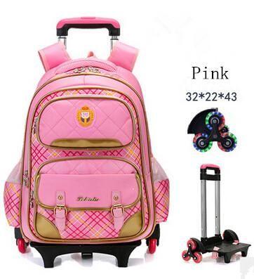 Girl/'s Children Cute Trolley Backpack School Bag with 2//6 Wheels Wheeled Bags
