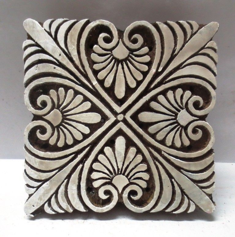 Wooden Printing block stamp textile design hand curved indian print