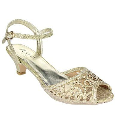 Womens Low Mid Heels Peep Toe High Back Strappy Sandals Silver Gold Glitter Size