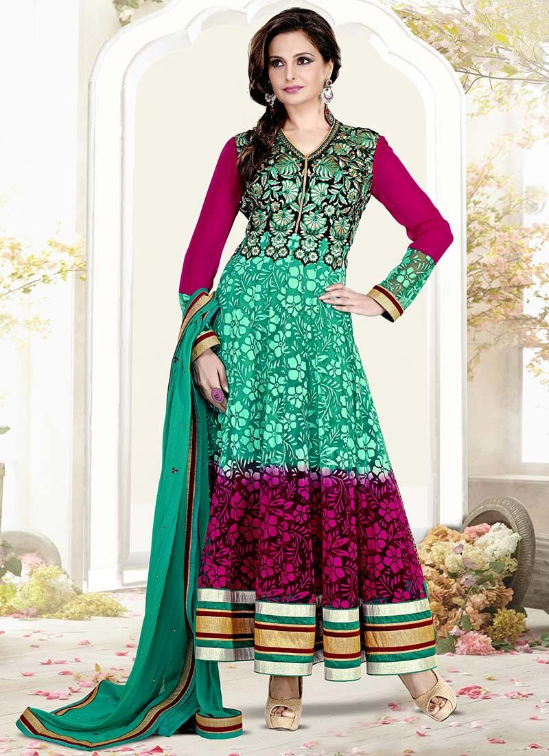 Green Monica Bedi Ankle Length Anarkali Suit | Kurta/Anarkali Suit ...