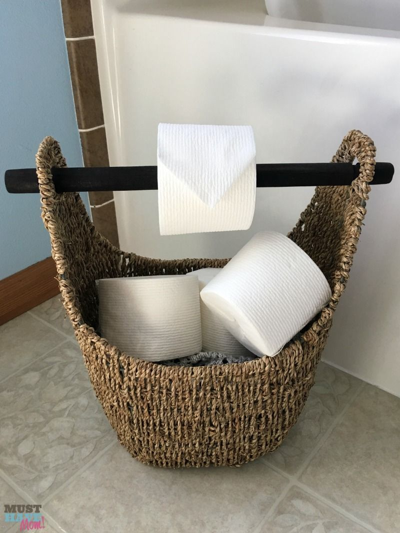 Superb DIY Toilet Paper Holder Idea! Use A Wicker Basket With A Wood Handle As A Toilet  Paper Holder And Fill The Basket With Extra Toilet Paper Rolls.