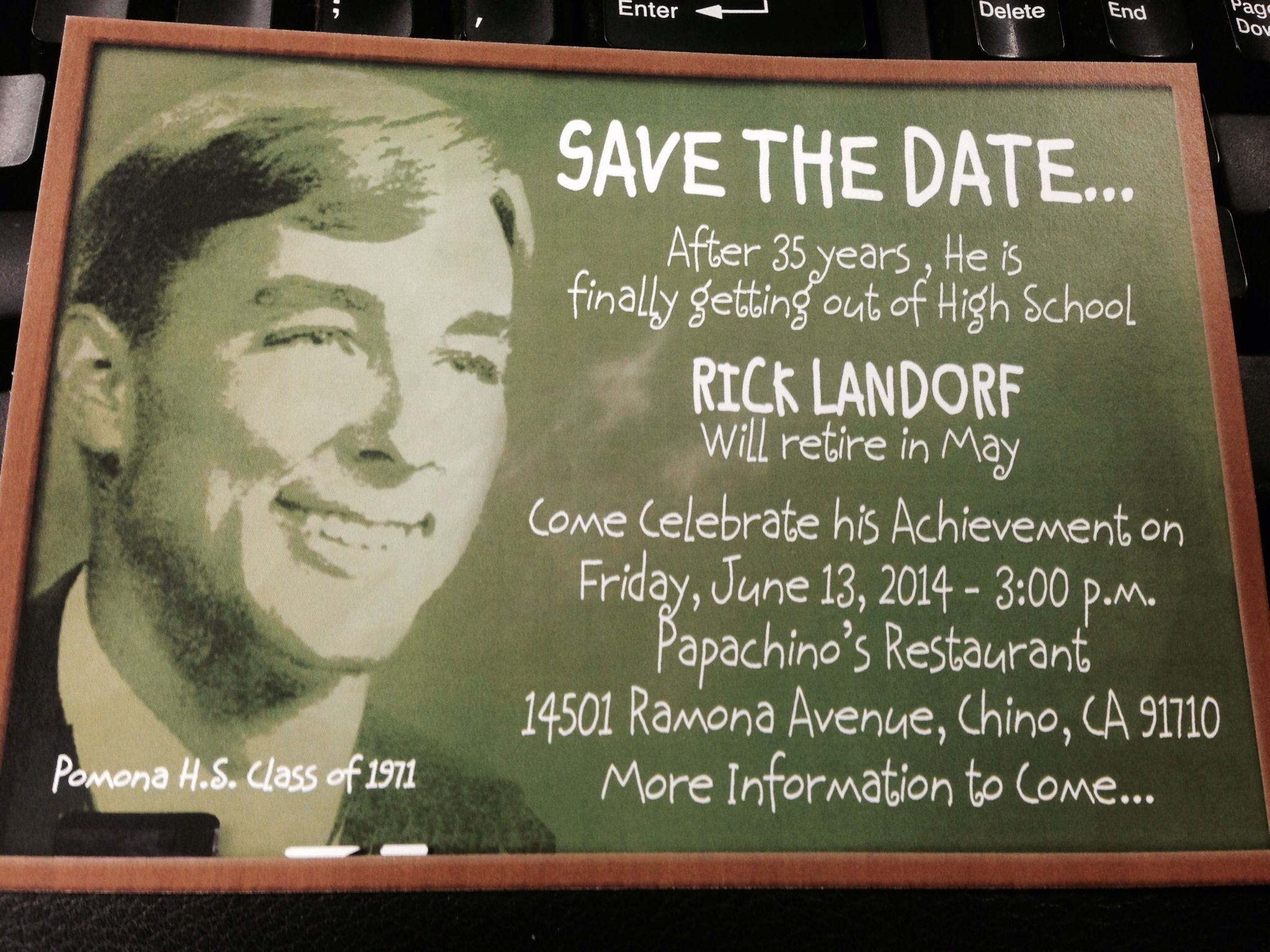 final save the date postcard for my boss retirement party rick