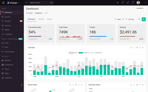 DOWNLOAD Vision Admin Dashboard Template Bootstrap Theme - Board dashboard template
