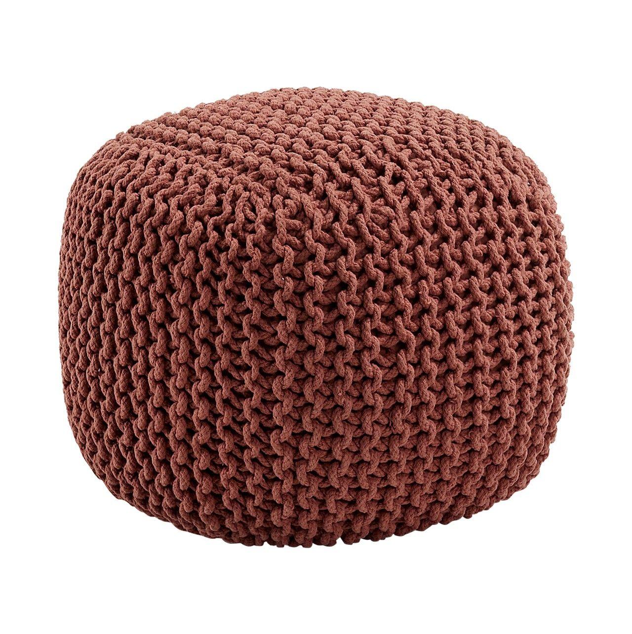 Puff cuadrado en tricot color marr n marr n for Puff cuadrados