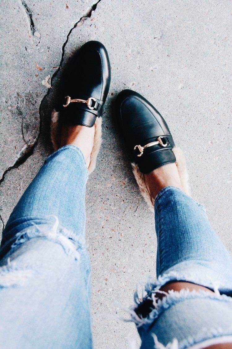 83a2db4f0ae slides | boho // glam in 2019 | Shoes, Fur loafers, Minimalist shoes