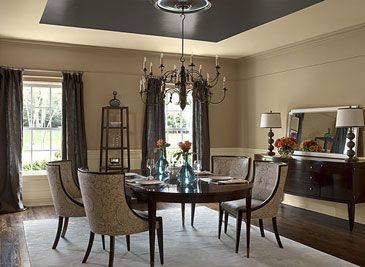 Paint Ideas And Inspiration  Dark Ceiling Traditional Dining Beauteous Paint Colors For Dining Room Walls Review