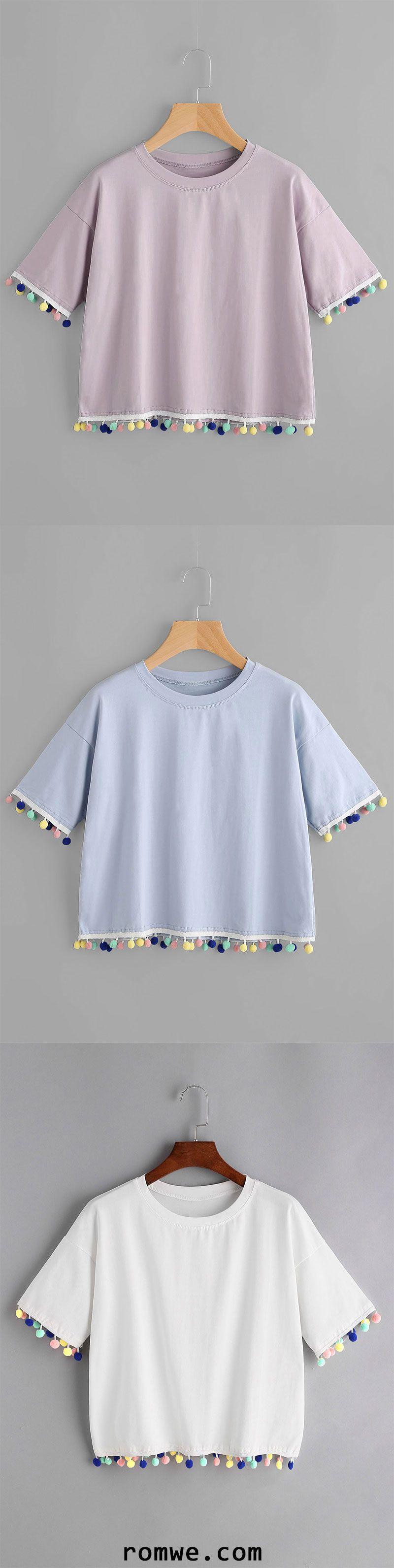 Photo of Drop Shoulder Pom Pom T-shirt