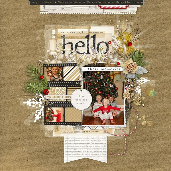 Hello Twinkle Christmas Decorating scrapbook layout by Kayleigh Wiles #shopDesignerDigitals