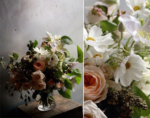 vintage wedding bouquet in muted earth tones