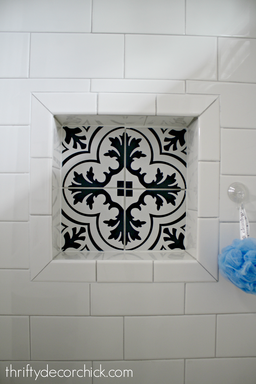 Niche In Shower With Cement Tile Diy Bathroom Remodel