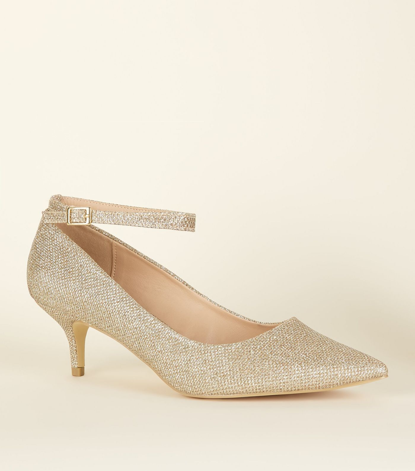 best place most popular outlet for sale Wide Fit Gold Glitter Pointed Kitten Heels | Thread in 2019 ...