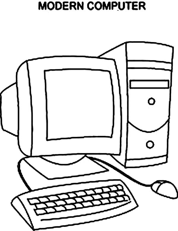Computer, : Modern Computer Coloring Page (With images