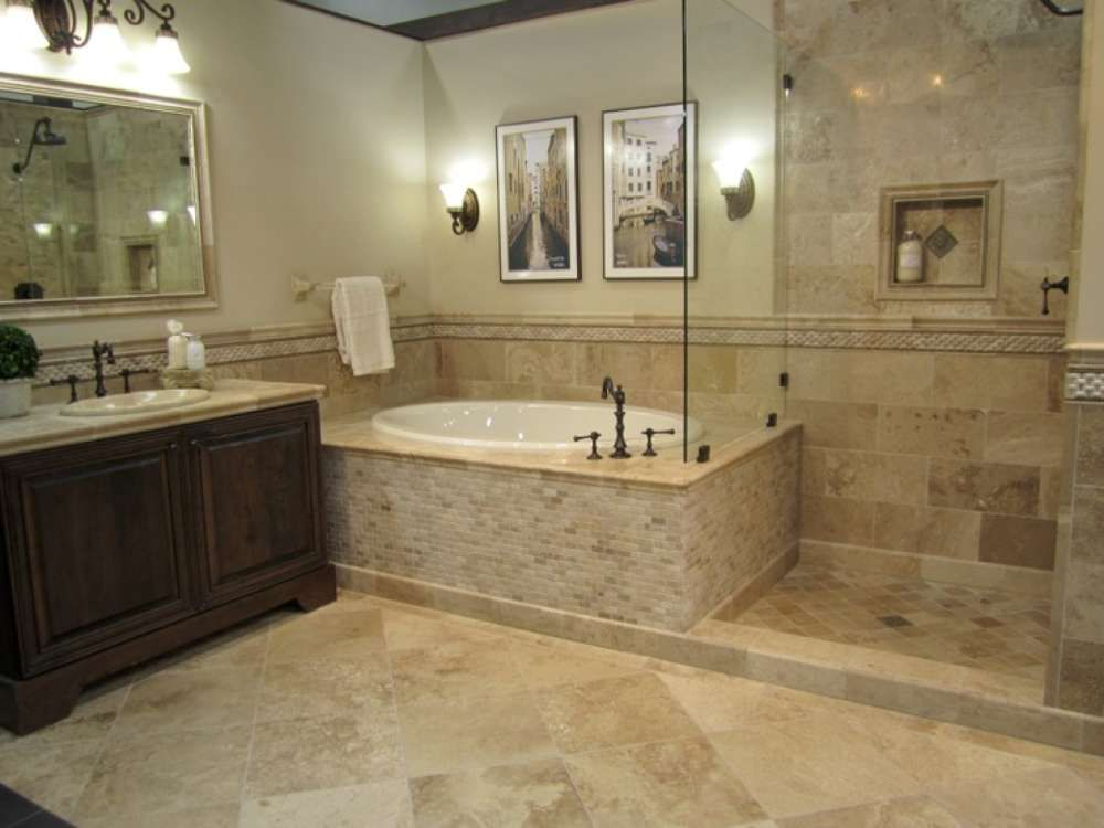 Vanity honed driftwood travertine bathroom with oil rubbed bronze